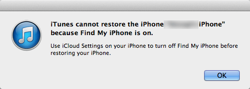 itunes cannot restore the iphone because find my iphone is on