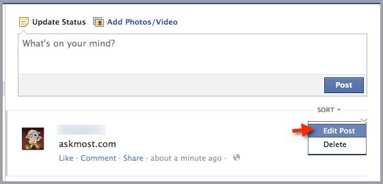 تعديل المشاركة في الفيس بوك-١