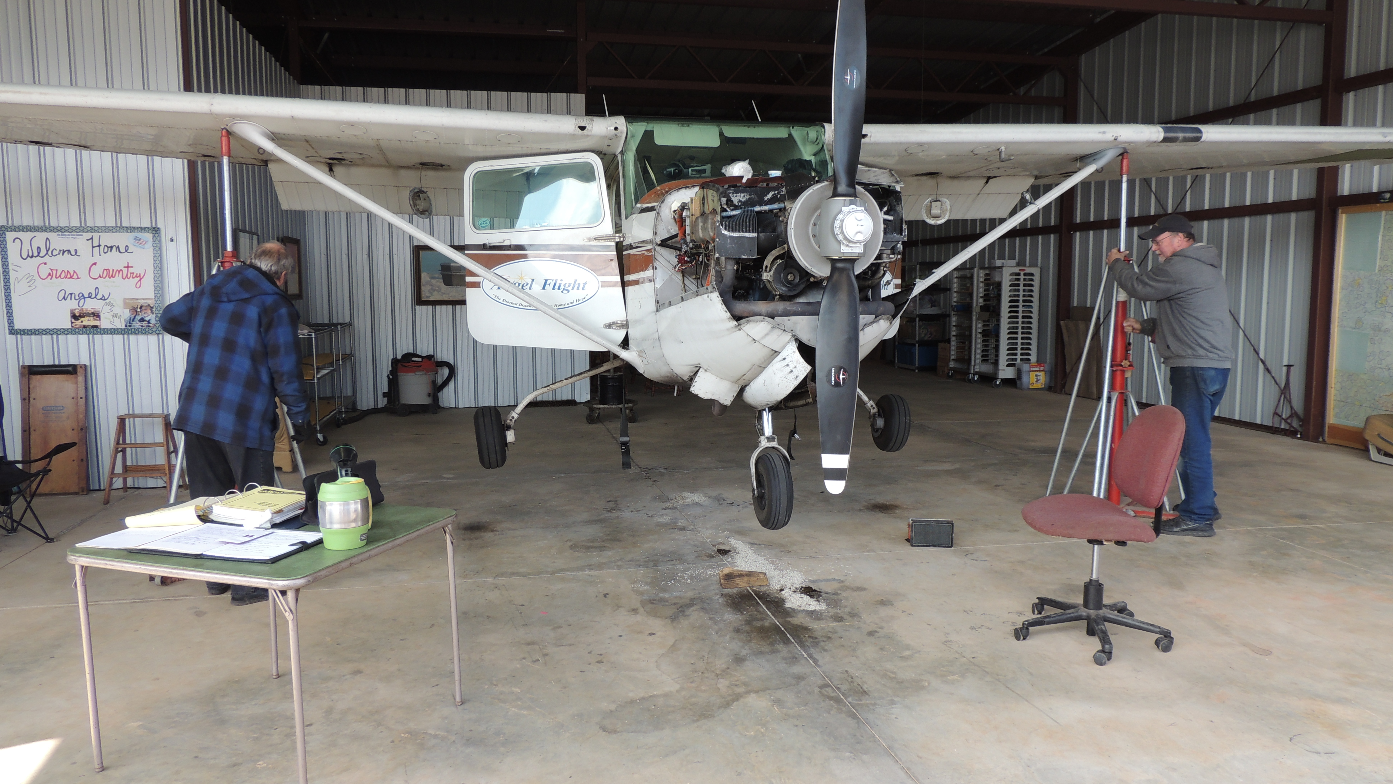 Sditting on jacks so that the landing gear can be checked