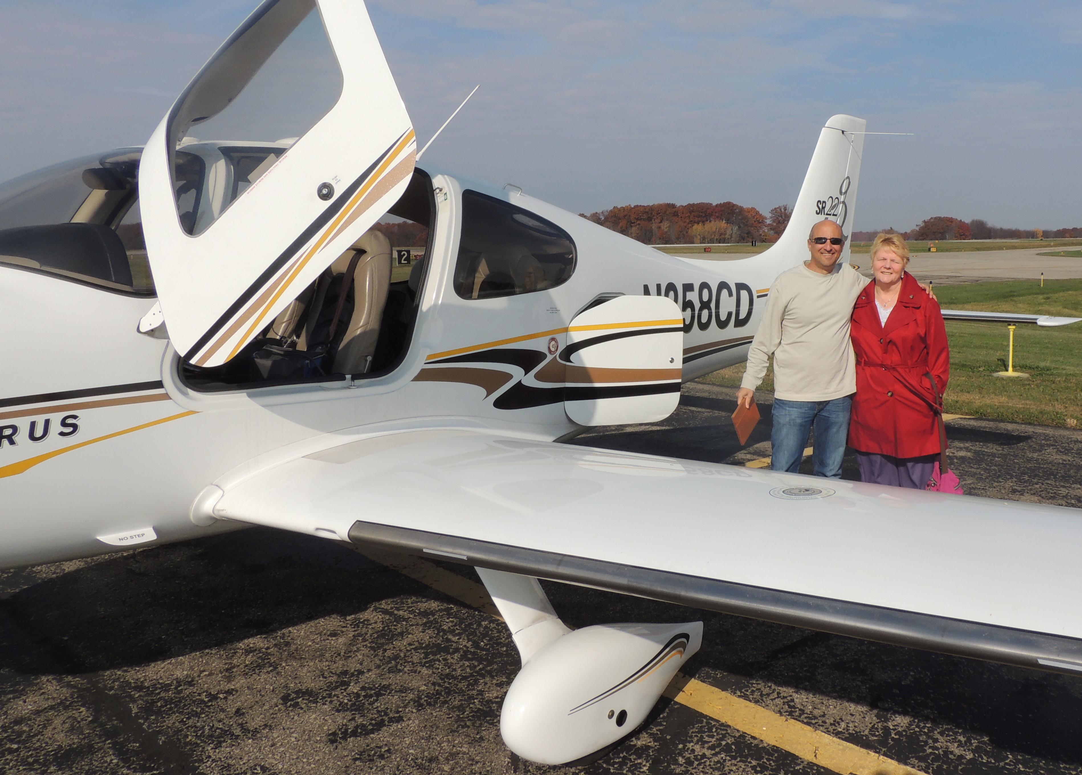 Adeline with Rob Schwartz (her Pilot to Ann Arbor MI)