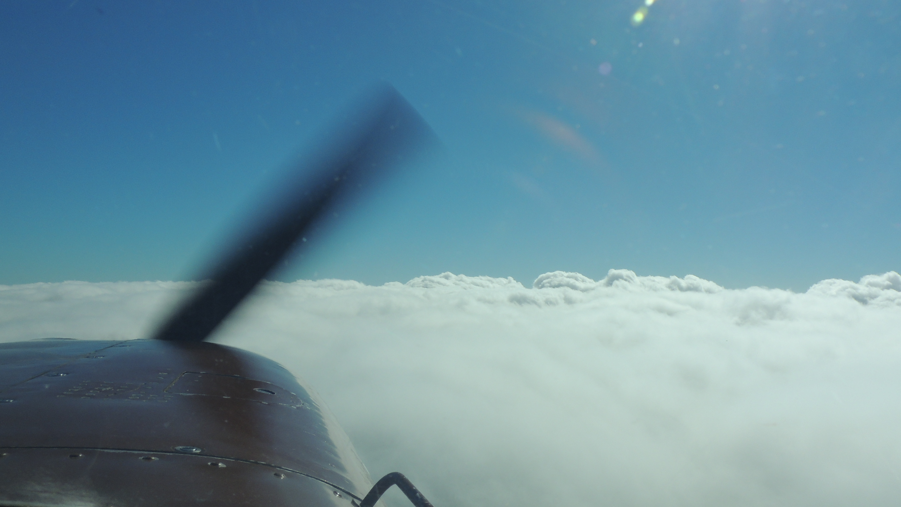 Climbing back up and over the cloud deck heading to Stafford VA