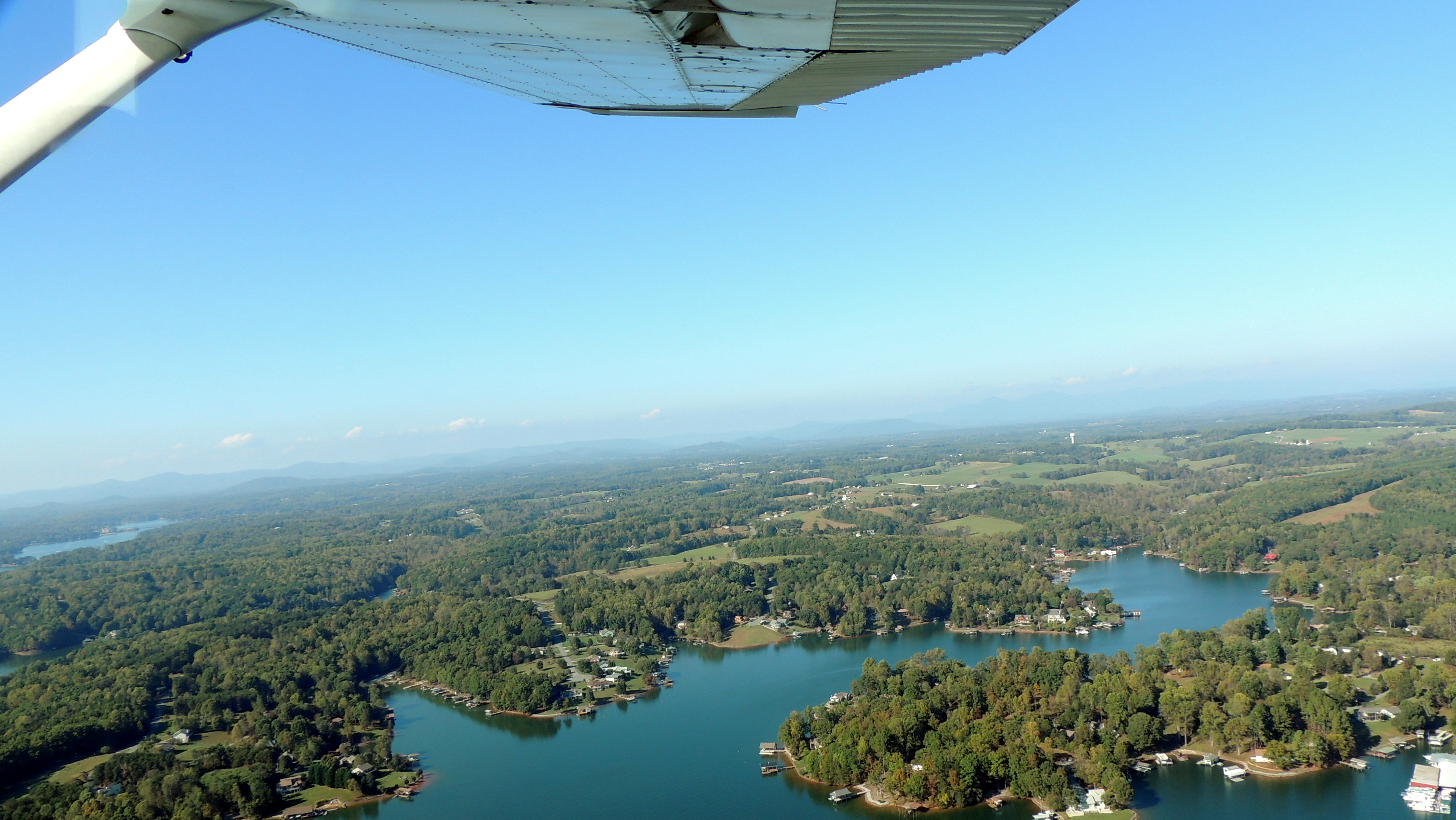 Over Smith Mountain Lake with Veteran John Cahoon heading back to Roanoke VA