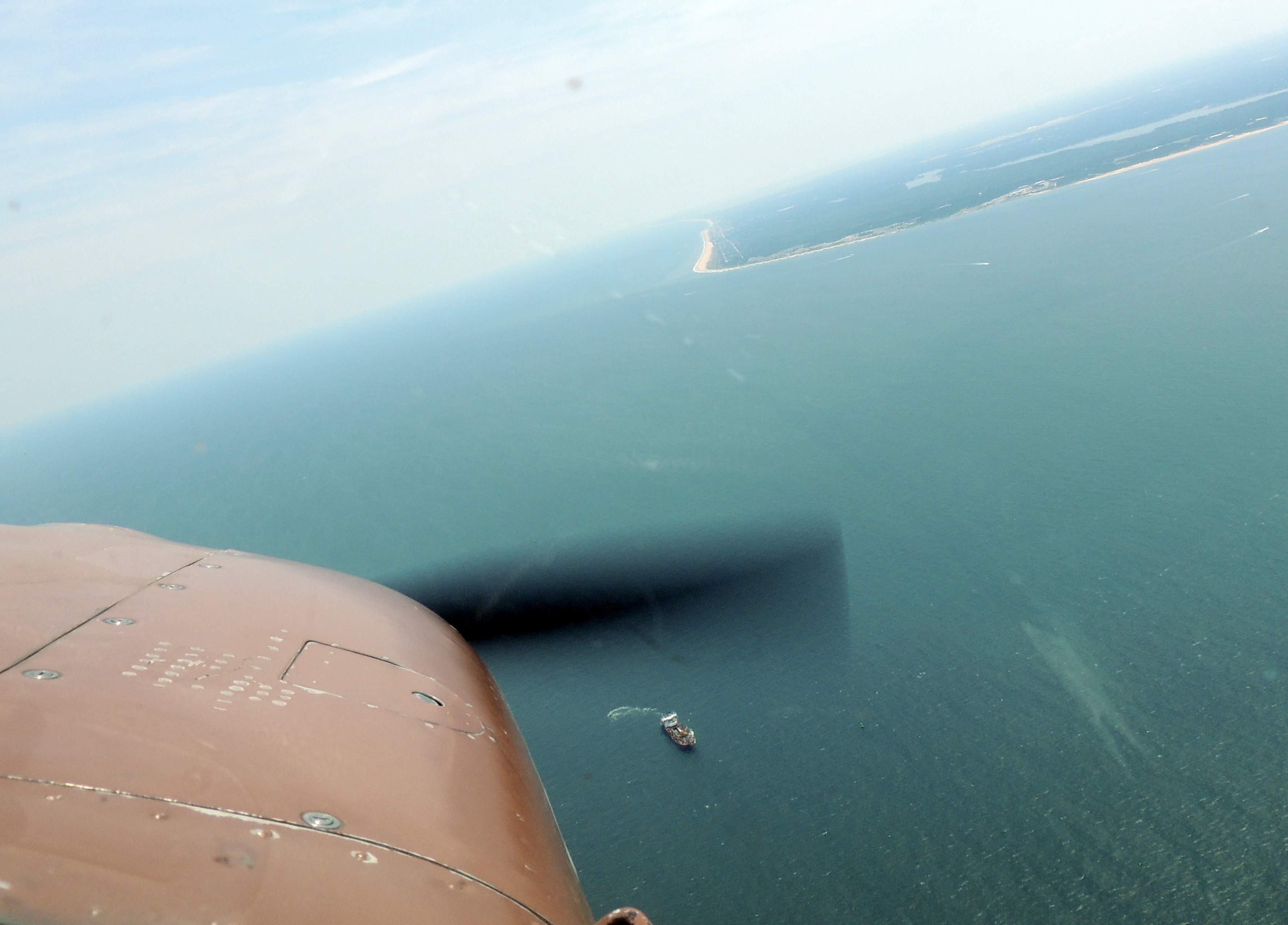 Over the Atlantic looking southwest towards Virginia Beach