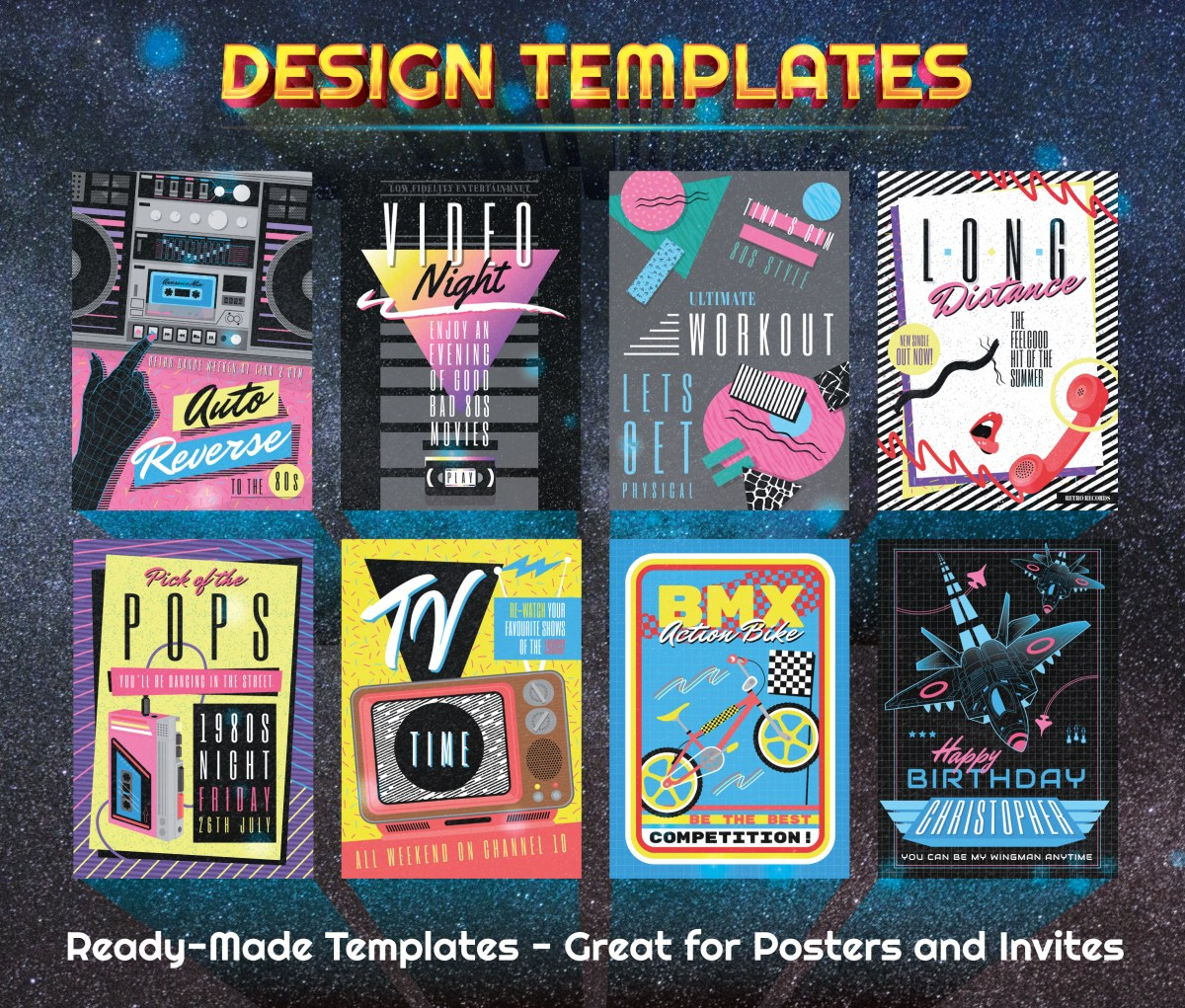 Editable 1980s Graphics Templates