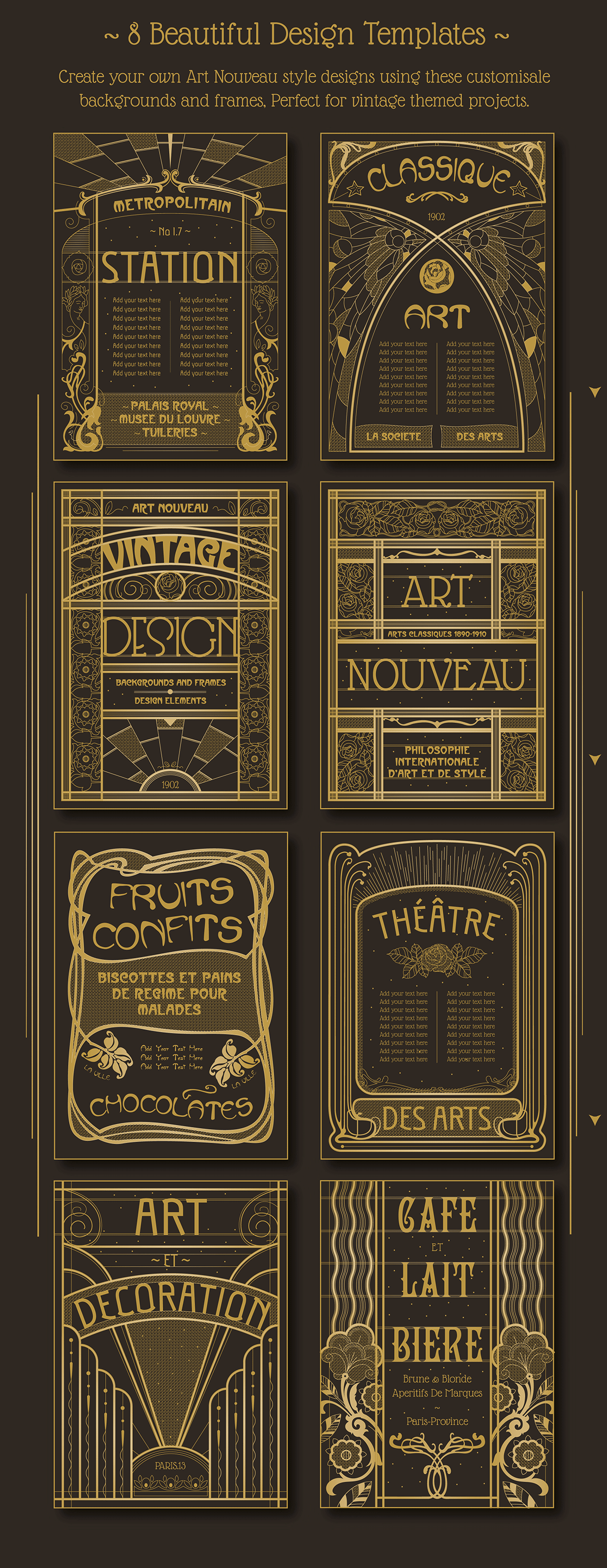 Vintage Art Nouveau Design Templates
