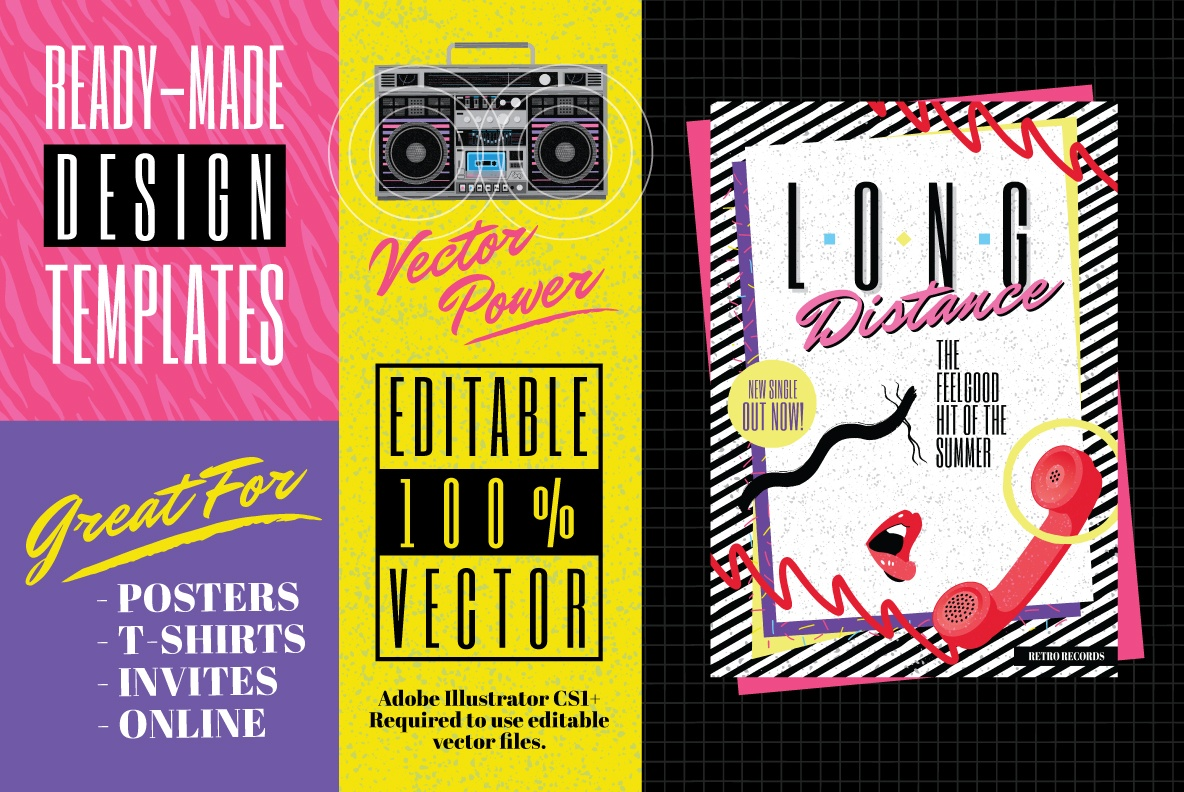 1980s Poster Design Templates