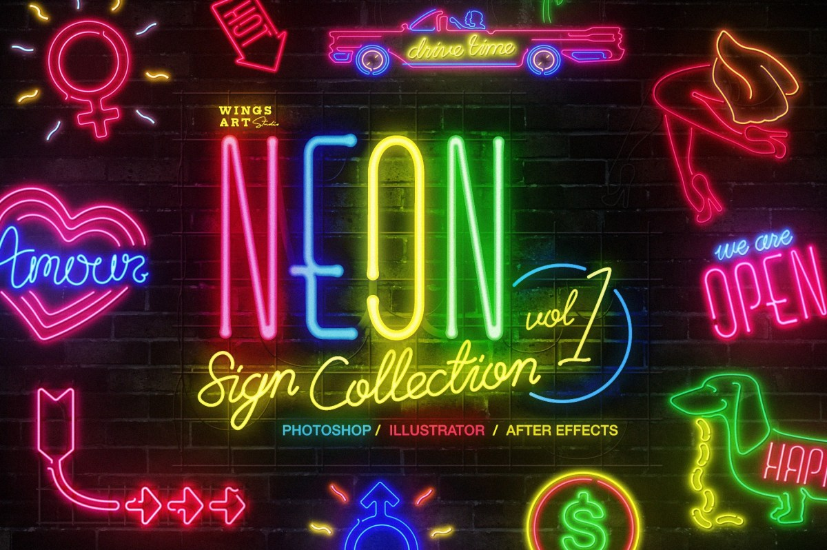 Neon Sign Collection for After Effects Vol1-01