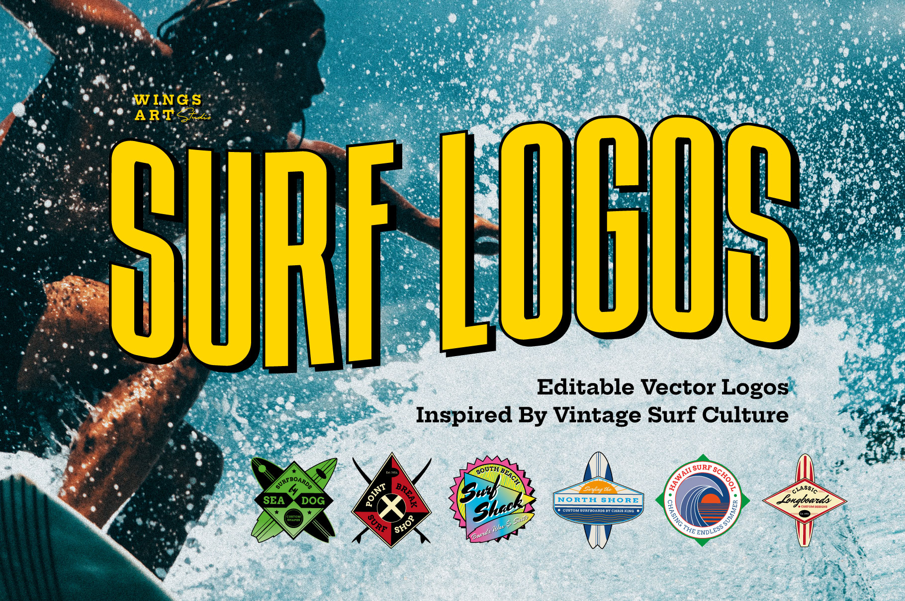 Surf Logo Design Templates for Photoshop