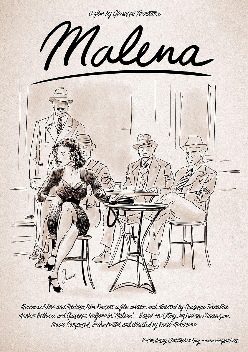 malena-monica-bellucci Poster by Christopher King