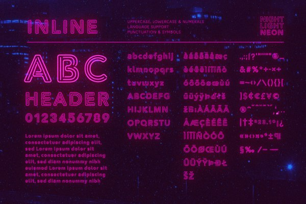 Neon Font - Inline by Wing's Art Studio