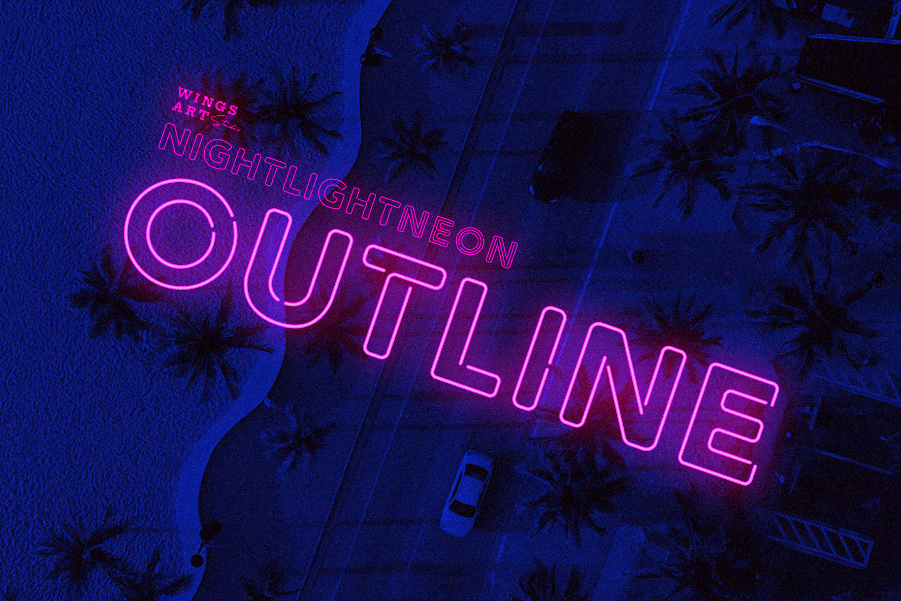 Neon Font - Outline by Wing's Art Studio
