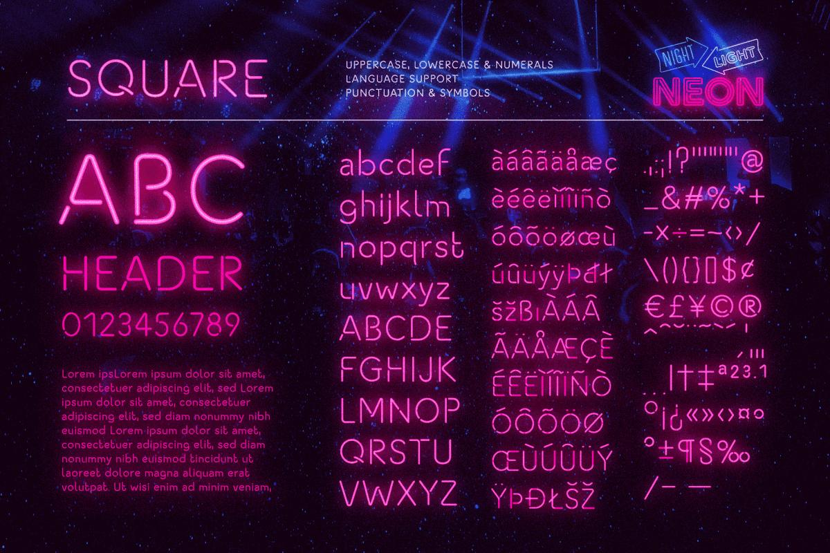 Retro Neon Font Collection Square Style