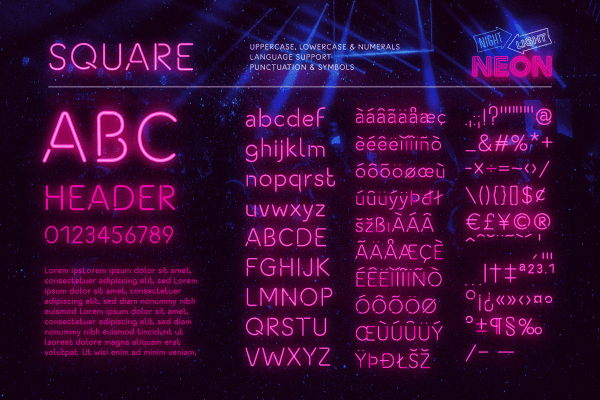Retro Neon Font Collection Square Style