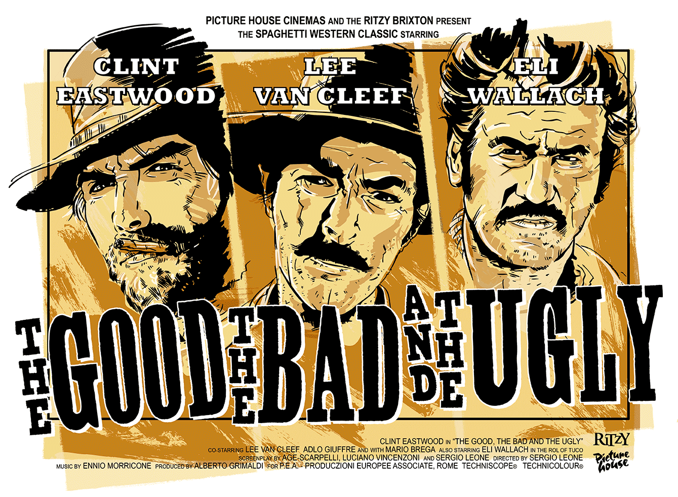 The Good, The Bad and The Ugly Movie Poster Illustration