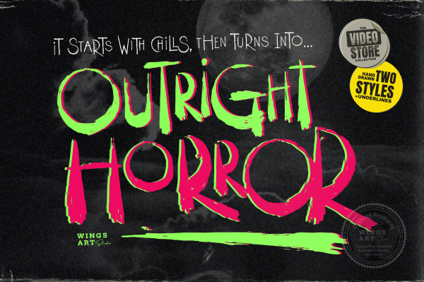 Outright Horror - A hand-Drawn Brush Font for Halloween by Wingsart Studio - Free Download