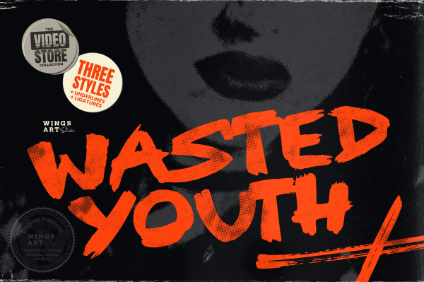 Wasted Youth: A 90s Grunge Inspired Brush Font by Wingsart Studio Free Download