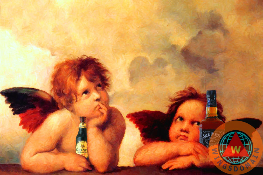 the sistine modonna,modonna,prima donna,primadonna,cistine,baby,angel,angels,baby angels,cherub,cherubs,raphael sanzio,beer,alcohol,beverage,jack daniels,whiskey,guiness,bar,bars,bartender,pub,pubs,satire,spoof,fun,funny,humor,whimsical,eclectic,wings,jesus,christ,religion,christianity,catholic,italy,italian,sculptor,sculpture,paint,painting,paintings,masterpiece,sistine chapel,masterpiece,renaissance,high renaissance,classic,classical period,classical art,the,and,or,wing tong,wingsdomain