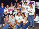 Jim Shirey with crew, friends and family after winning 1994 Hy-Miler Supermodified Nationals