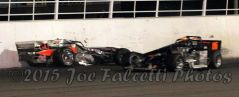 Kody Graham and Dave Cliff crash at Oswego Speedway in Mr. Supermodified race. Supermodified race