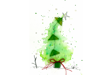 Merry Christmas Watercolor Tree