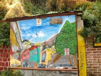 Street art in Valaparaiso, Chile. Plazuela Los Alamos.