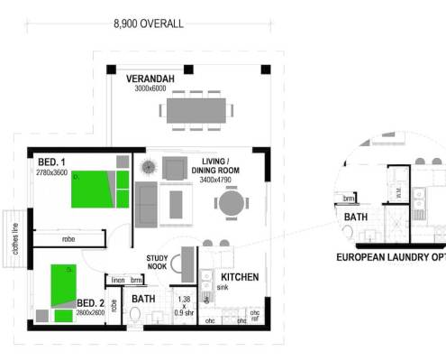 Mini Tego 78 2 Bedroom 78m2 Classic Floor Plan