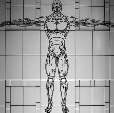 """A depiction of the famous """"t-pose"""" from video game development, as illustrated in the article by Winifred Phillips (video game music composer)."""