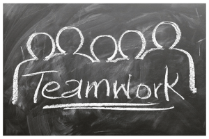An illustration of the concept of teamwork, used in the article by Winifred Phillips (video game composer).