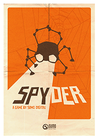 An image of the official Spyder video game promotional poster, as included in the article by video game music composer Winifred Phillips.