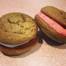 Matcha Whoopie Pies with Raspberry Cream Cheese Filling or Vanilla Mascarpone Cream Cheese Filling