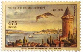 Sello conmemorativo del vuelo de Hezarfen Ahmet Çelebi