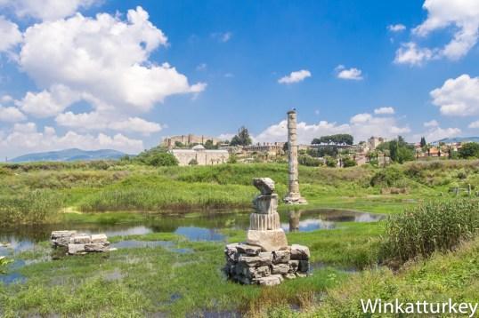 Restos del templo de Artemisa con la Mezquita de Isa Bey y la Basílica de San Juan al fondo