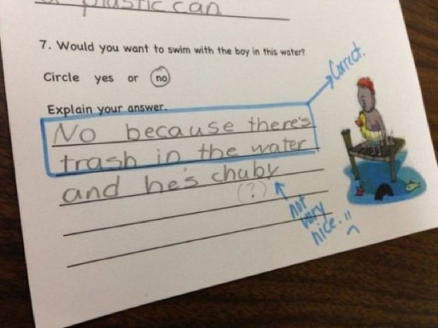 29 Funny Test Answers - Would you want to swim with the boy in the water?