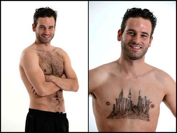 Chest Hair Art by Daniel Johnson - New York City skyline.