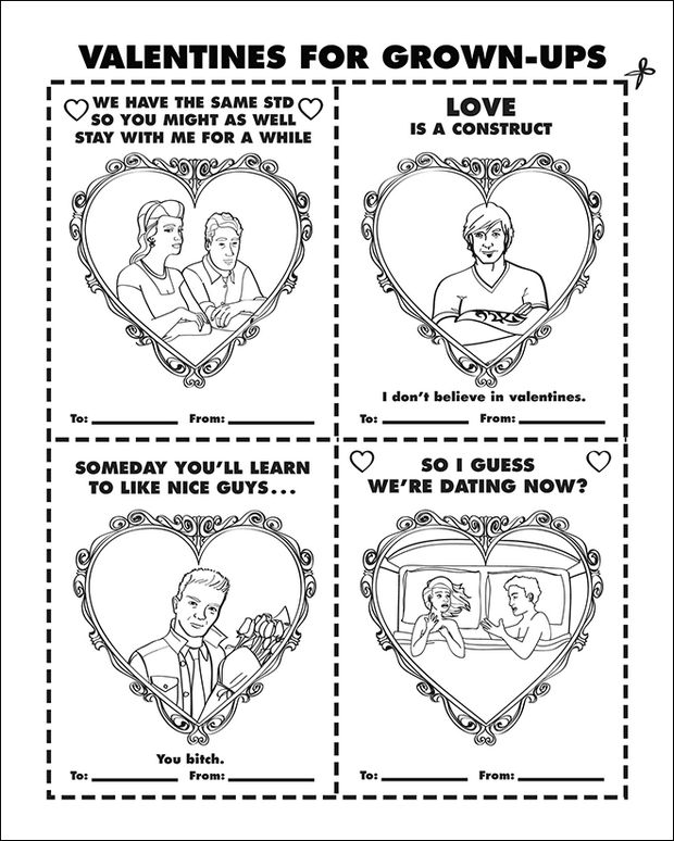 Coloring Books for Grownups - Valentines for grown-ups