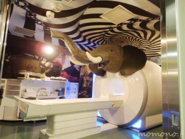 Hospital in Japan - A giant elephant graces the MRI room along with a colorful decor.