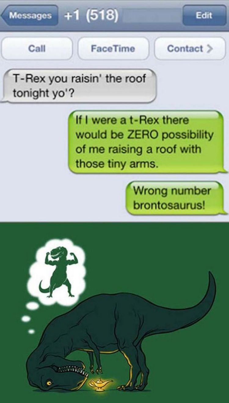 16 Funny Wrong Number Texts - T-Rex raisin' the roof?