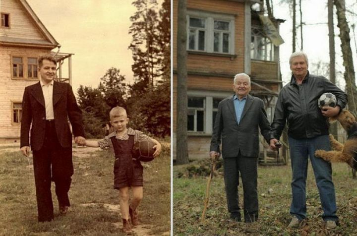 29 Powerful Pictures - Before and after photo of father and son (1949 vs 2009).