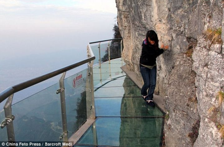 Glass Bridge in China - I think she can't wait to get to solid ground!