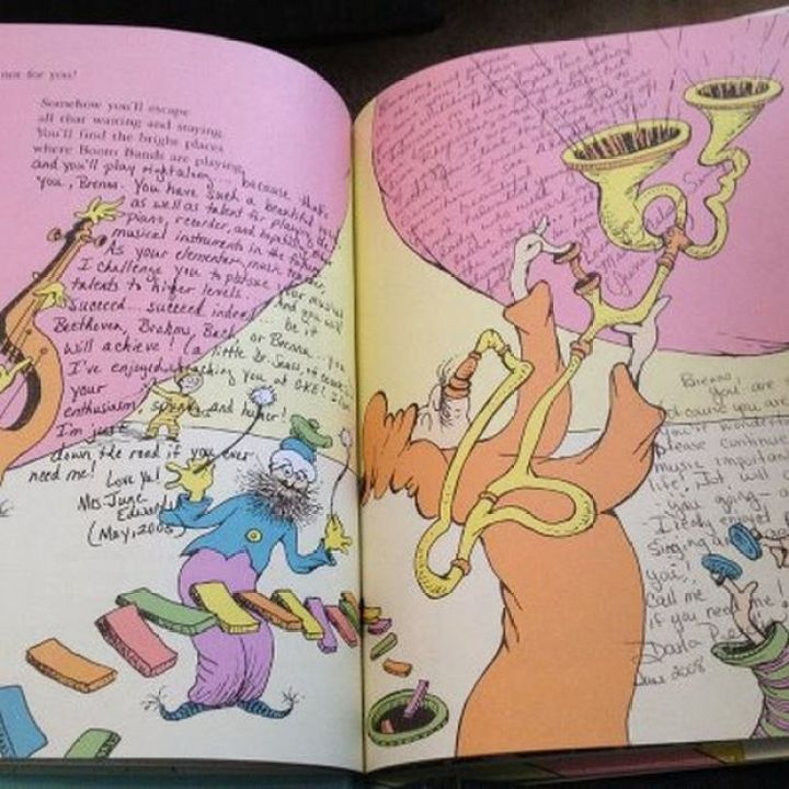 """""""Oh, The Places You'll Go!"""" Graduation Gift - The priceless gift was a copy of the Dr Seuss classic 'Oh, The Places You'll Go!' that had special messages from every one of her teachers from the past 13 years."""