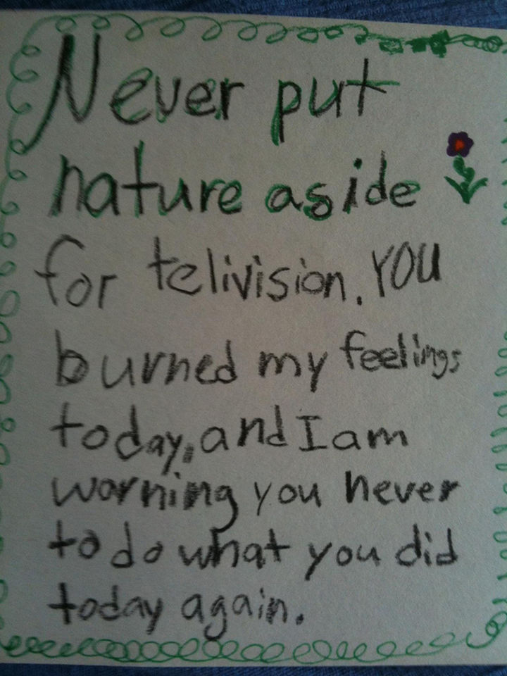 19 Clever Kids - An 8-year-old girl wrote this letter to her dad after he told her that they were going to the beach only after the football game ends on TV.