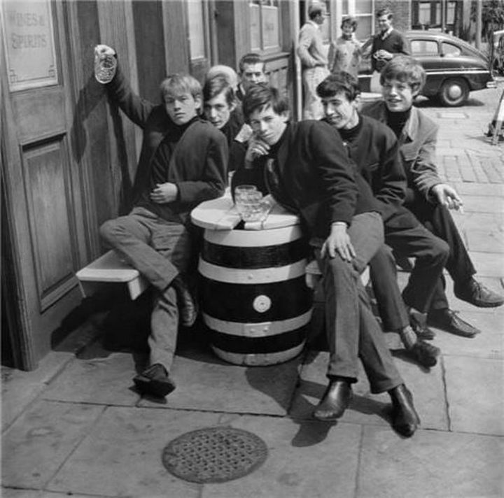 The Rolling Stones at The Australian Pub in London, England in 1963.