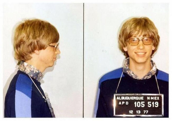 Bill Gates' mug shot (22 years old) for driving without a license in Albuquerque, New Mexico in 1977.