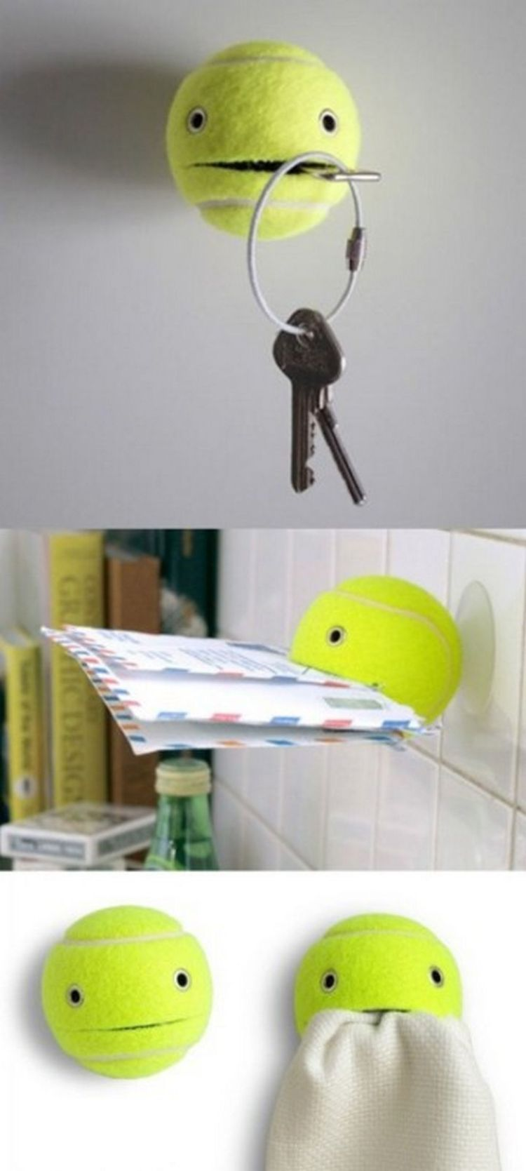 52 Cleaning and Life Hacks - Create a unique key holder using a tennis ball and a suction cup.