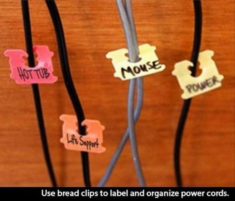 52 Cleaning and Life Hacks - Use bread clips to label and organize power cords.