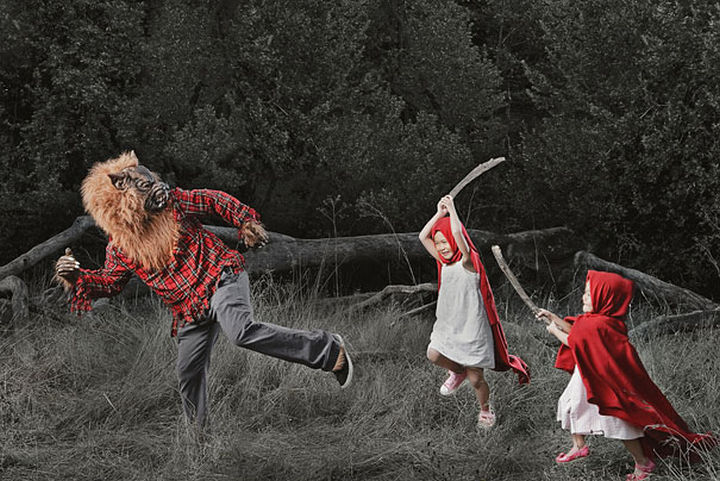 Kristin and Kayla - I bet the Big Bad Wolf wasn't expecting that Little Red Riding Hood had a sister.