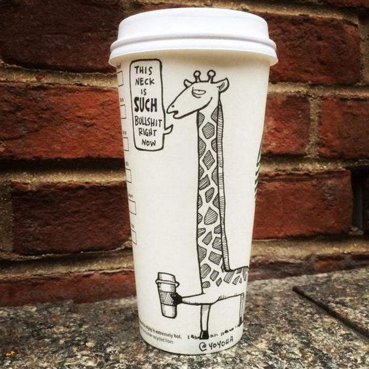 Starbucks Cup Drawings by Josh Hara - This neck is such bullshit right now.