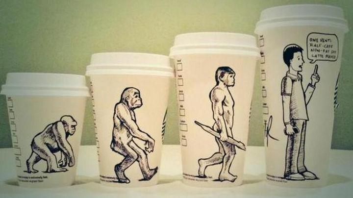 Starbucks Cup Drawings by Josh Hara - Evolution.