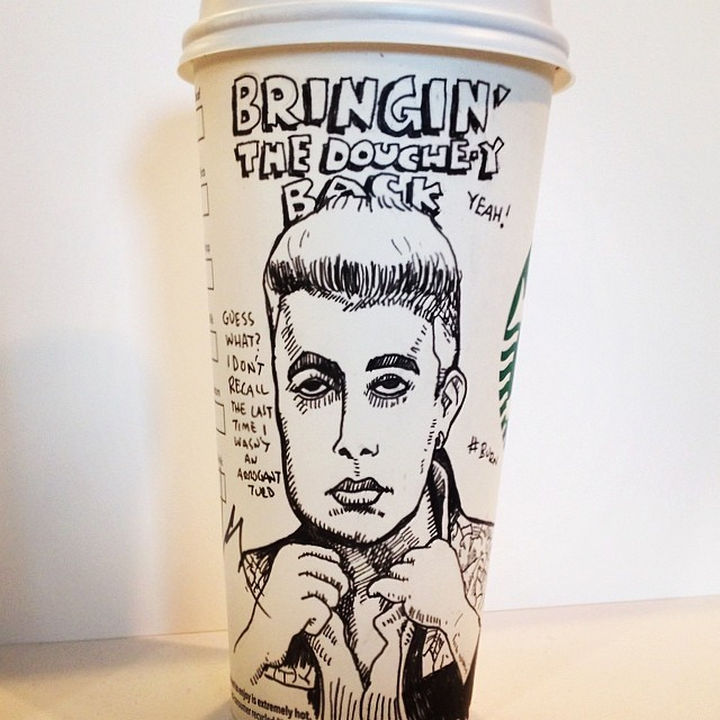Starbucks Cup Drawings by Josh Hara - Bringin' the douche-y back.
