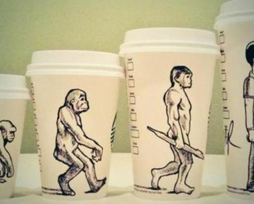 This Cartoonist Turns Used Coffee Cups into Works of Arts.
